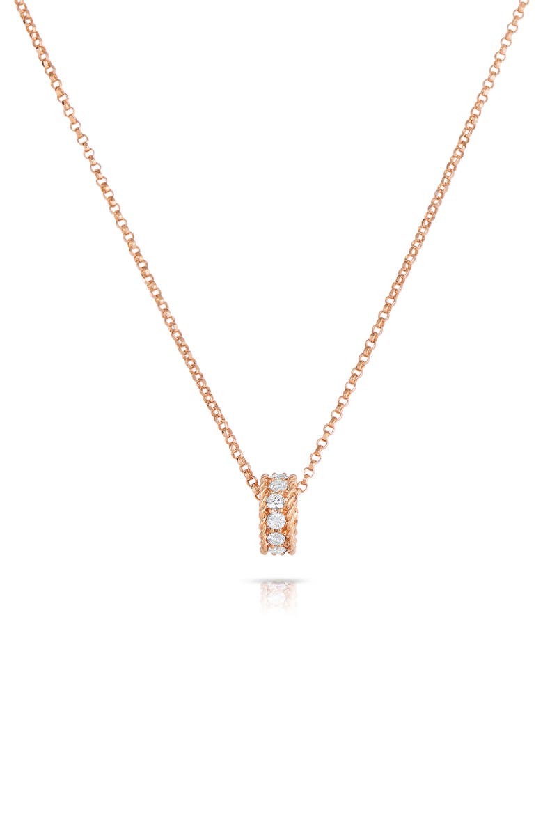 ROBERTO COIN Roman Barocco Diamond Pendant Necklace, Main, color, ROSE GOLD