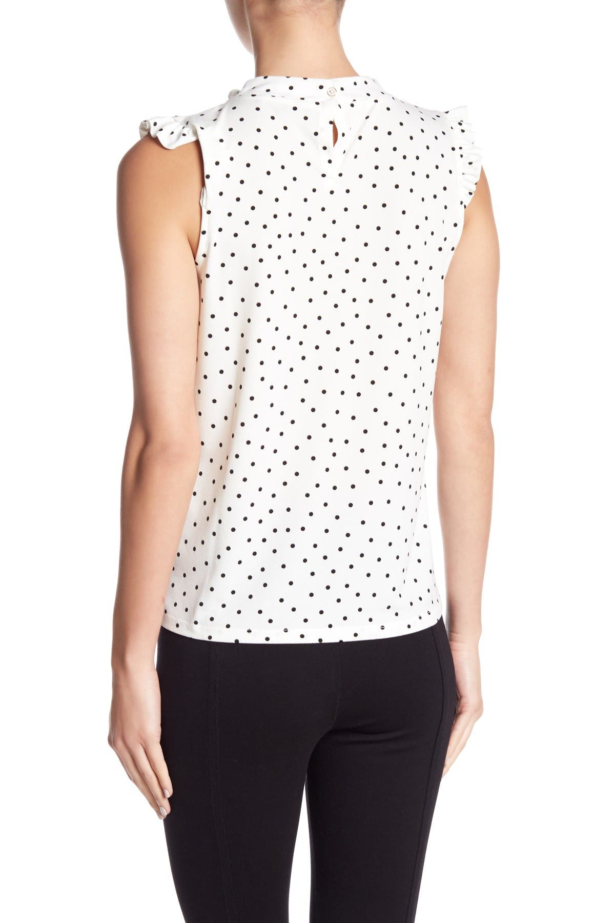 Image of Adrianna Papell Ruffle Cap Sleeve Printed Blouse