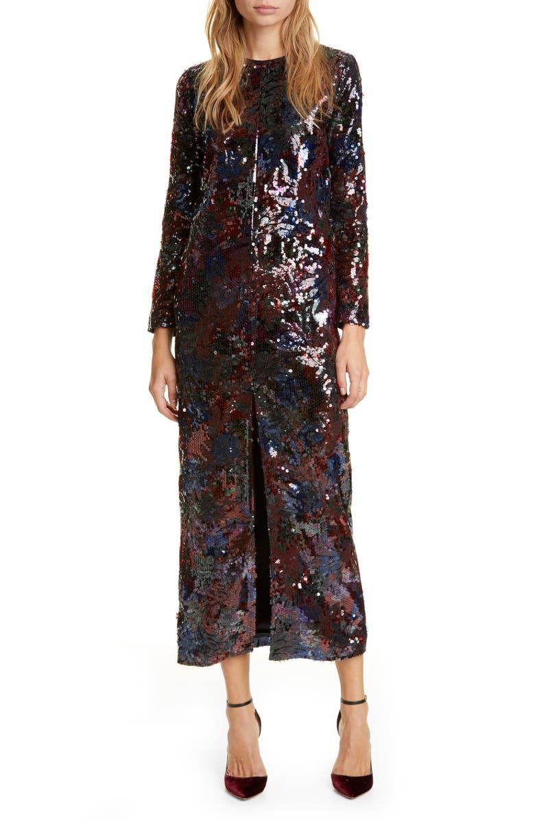 ROSEANNA Sequin Floral Print Long Sleeve Midi Dress, Main, color, MARINE