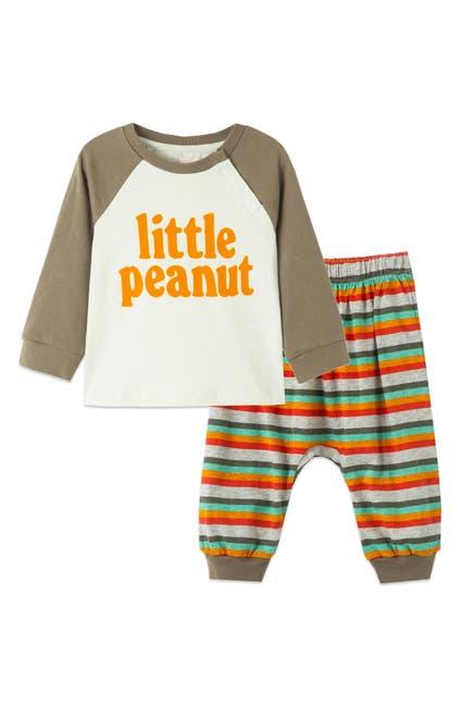 Image of Peek Essentials Little Peanut Baseball Graphic Tee & Stripe Pants Set