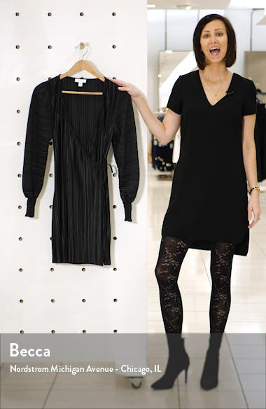 Long Sleeve Plissé Wrap Minidress, sales video thumbnail