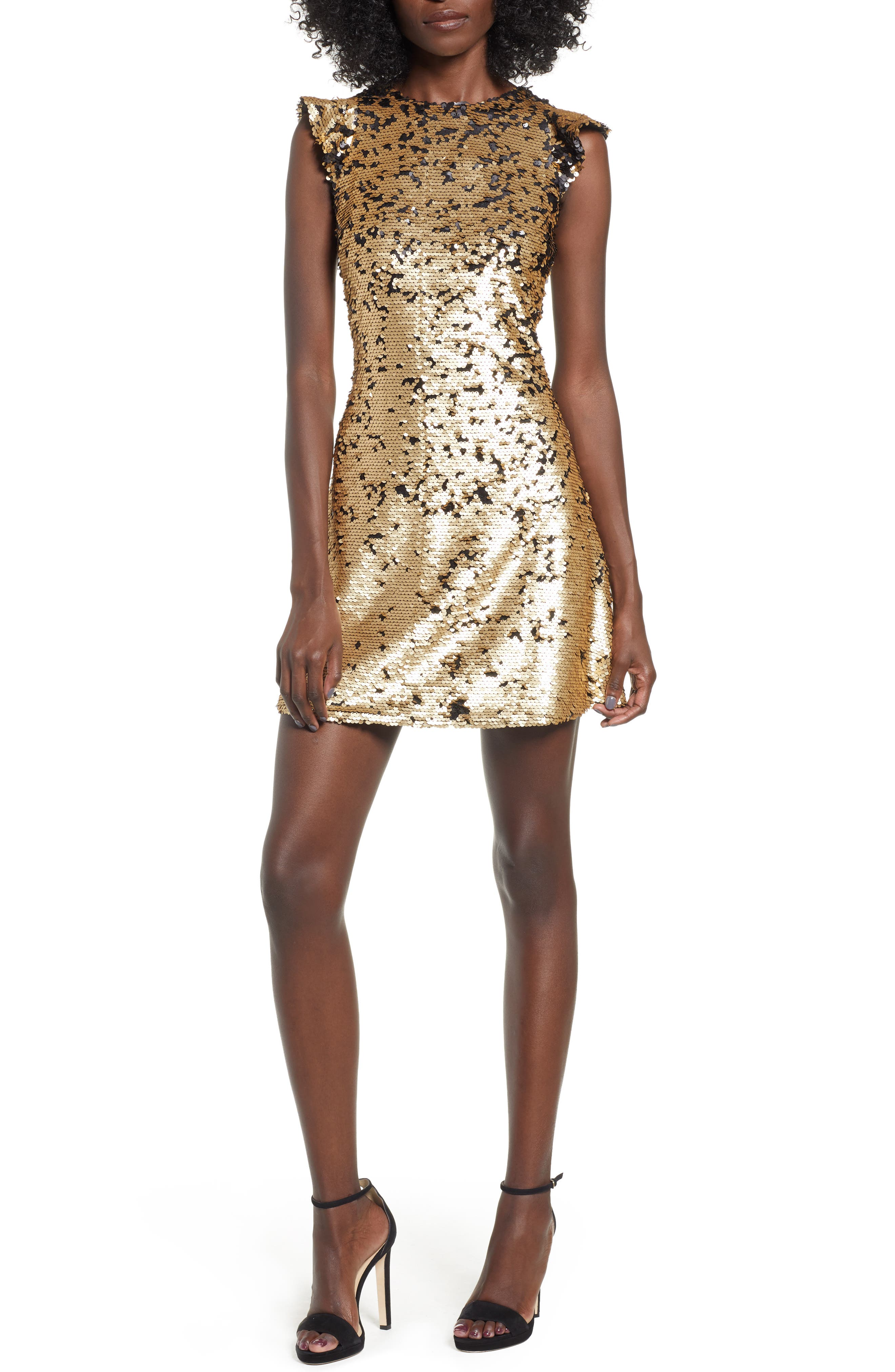 Endless Rose Sequin Babydoll Dress, Metallic