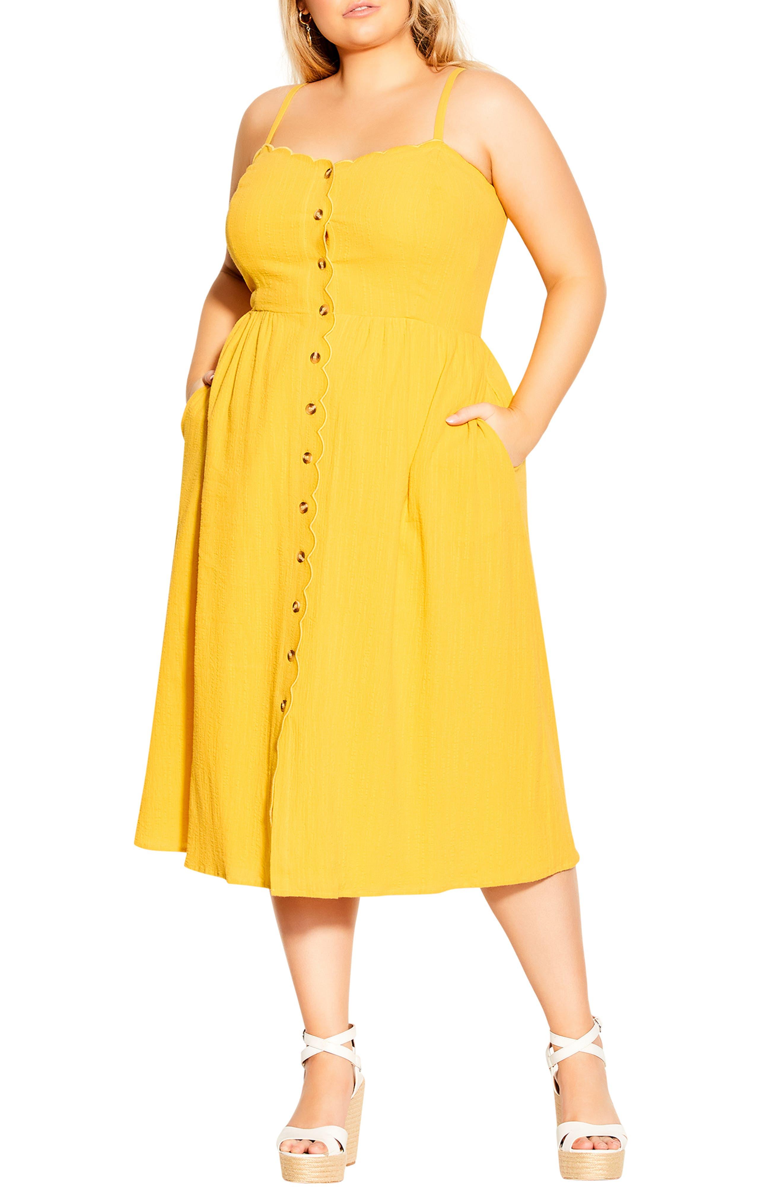 Sleeveless Scallop Button Dress