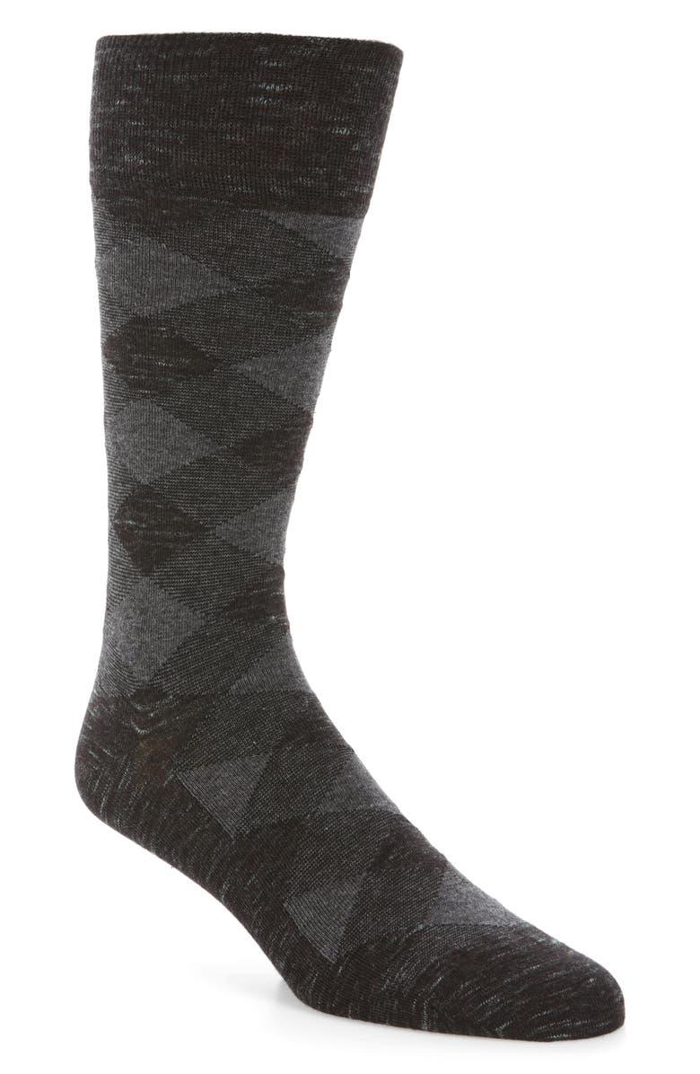 COLE HAAN Twist Plaid Socks, Main, color, BLACK