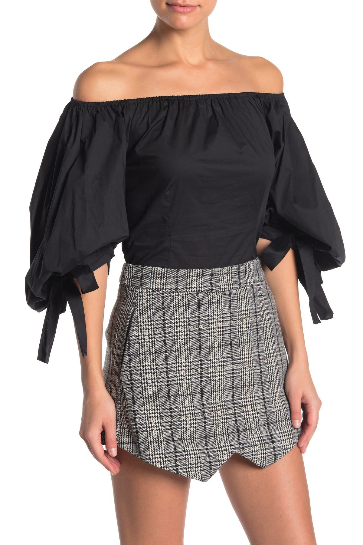 Image of Do + Be Off-the-Shoulder Bubble Sleeve Top