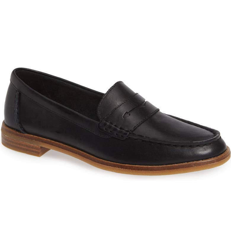 SPERRY Seaport Penny Loafer, Main, color, BLACK NUBUCK LEATHER
