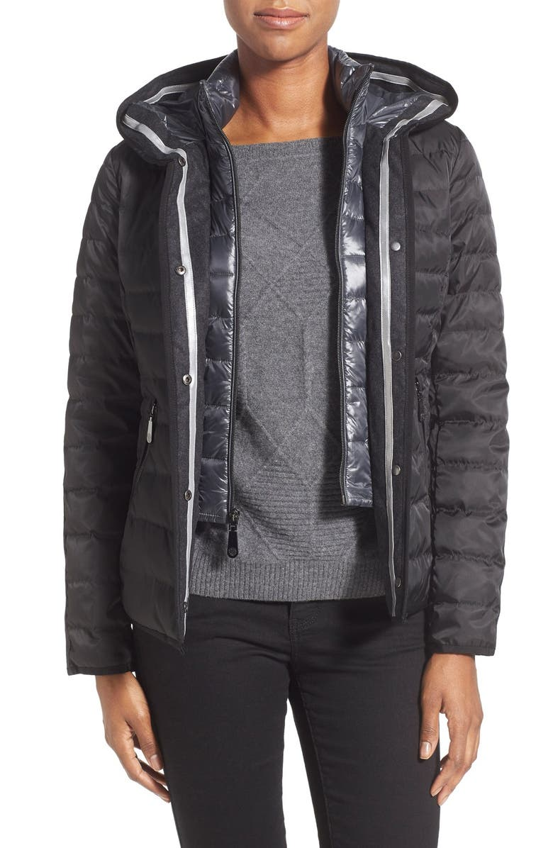 VINCE CAMUTO Hooded Down Jacket with Vest Front Insert, Main, color, 001