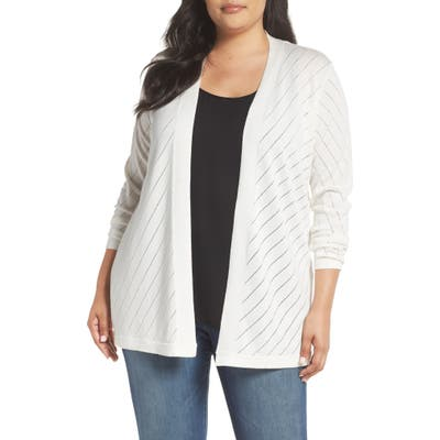 Plus Size Vince Camuto Pointelle Open Front Cardigan, Ivory