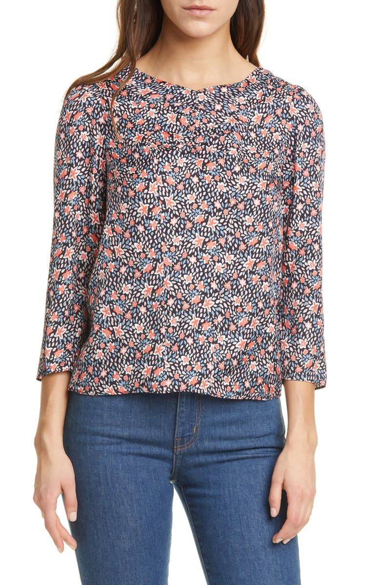 REBECCA TAYLOR Twilight Ditsy Floral Ruched Neck Silk Blend Top, Main, color, DARK NAVY COMBO