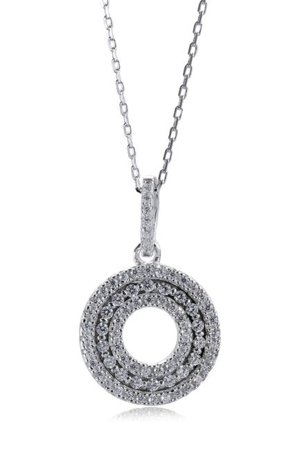 Image of Suzy Levian Sterling Silver CZ 3-Row Circle Pendant Necklace