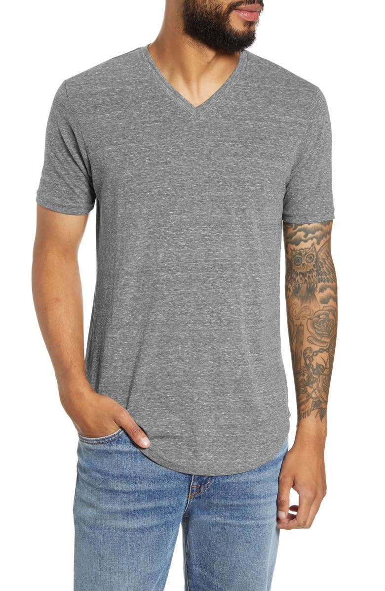 GOODLIFE Scallop Triblend V-Neck T-Shirt, Main, color, HEATHER GREY