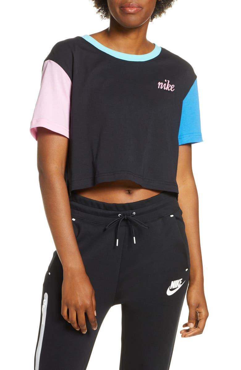 NIKE Sportswear Colorblock Crop Tee, Main, color, BLACK