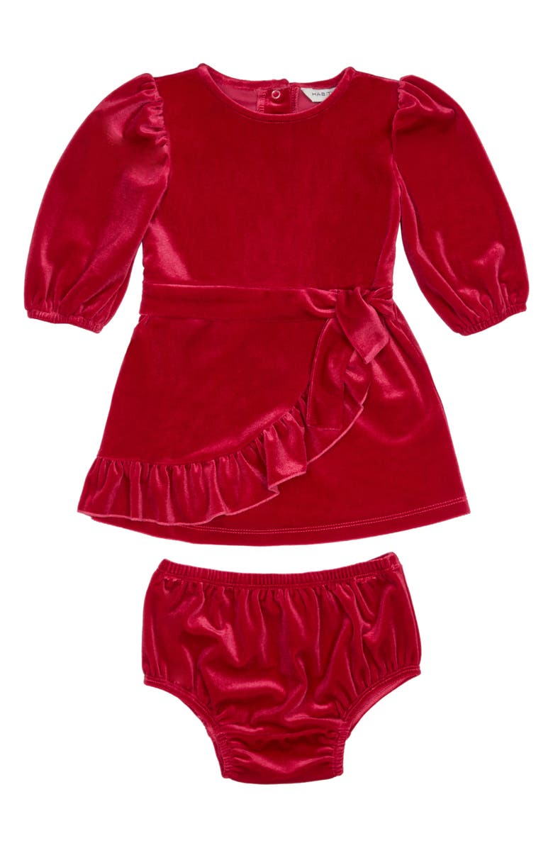 HABITUAL Stevie Faux Wrap Velour Dress, Main, color, DARK PINK