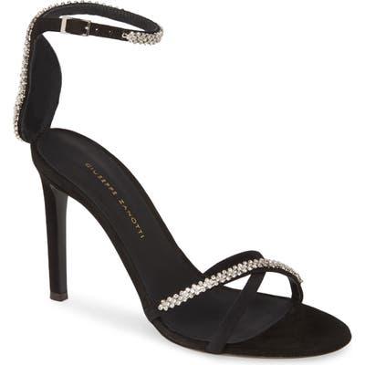 Giuseppe Zanotti Crystal Embellished Ankle Strap Sandal, Black