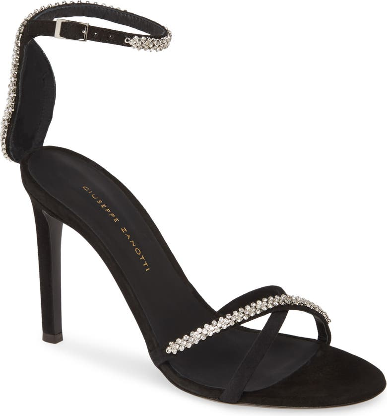 GIUSEPPE ZANOTTI Crystal Embellished Ankle Strap Sandal, Main, color, BLACK