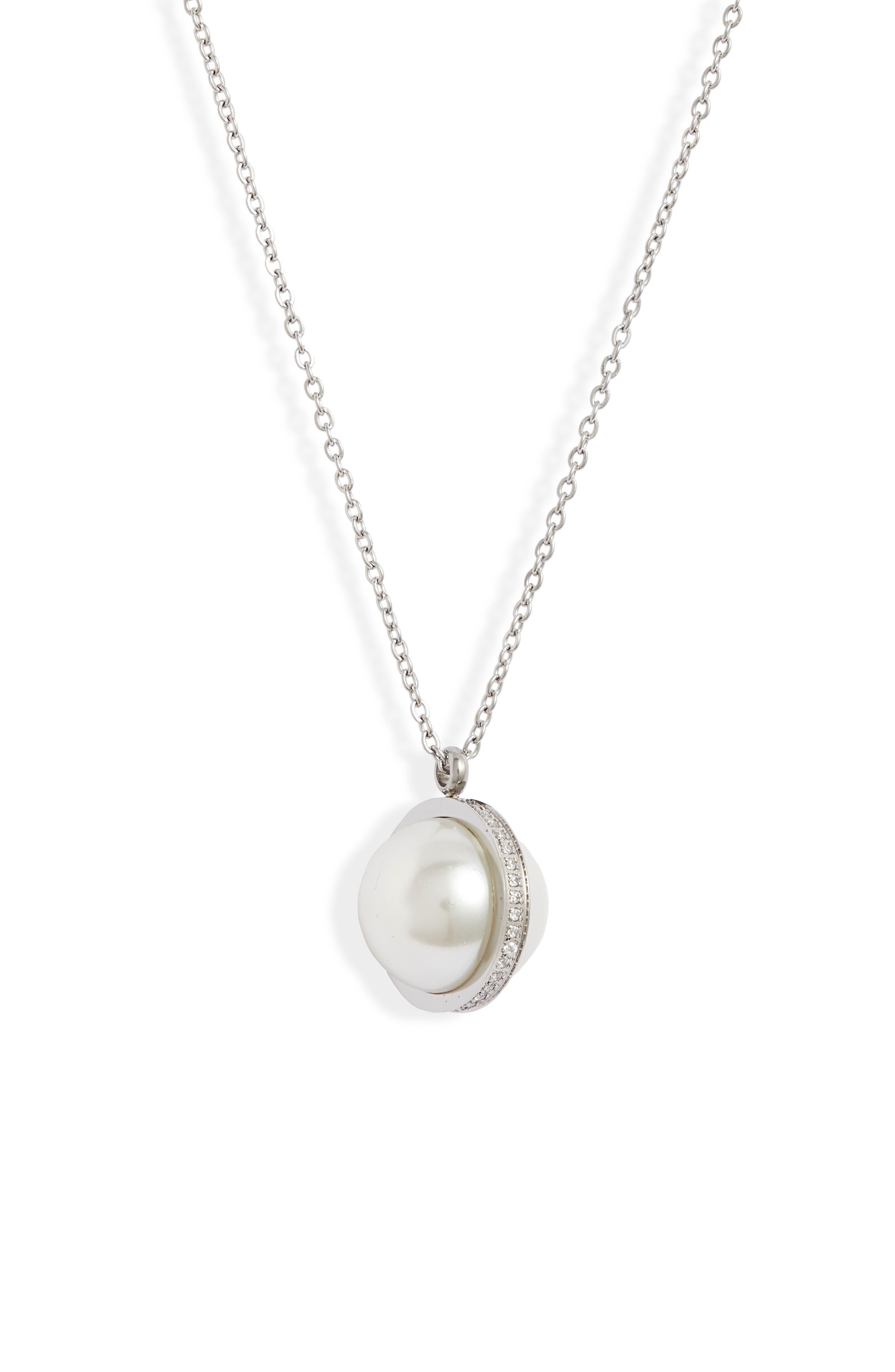 Imitation Pearl & Crystal Orbit Pendant Necklace