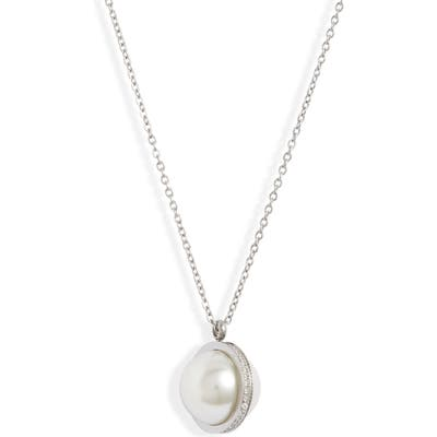 Knotty Imitation Pearl & Crystal Orbit Pendant Necklace