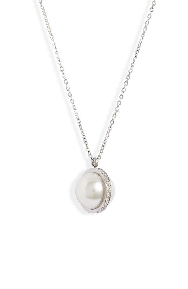 KNOTTY Imitation Pearl & Crystal Orbit Pendant Necklace, Main, color, RHODIUM