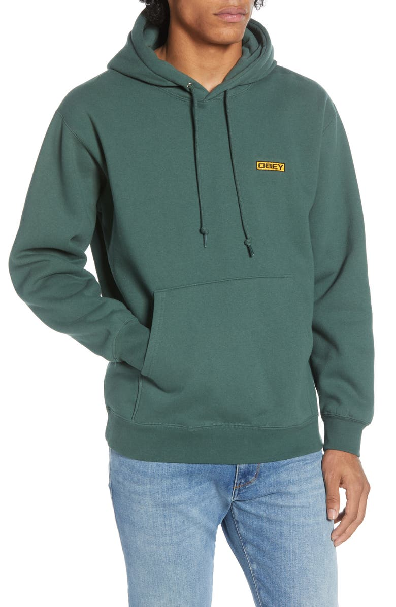 OBEY Enigma Logo Hooded Sweatshirt, Main, color, ALPINE