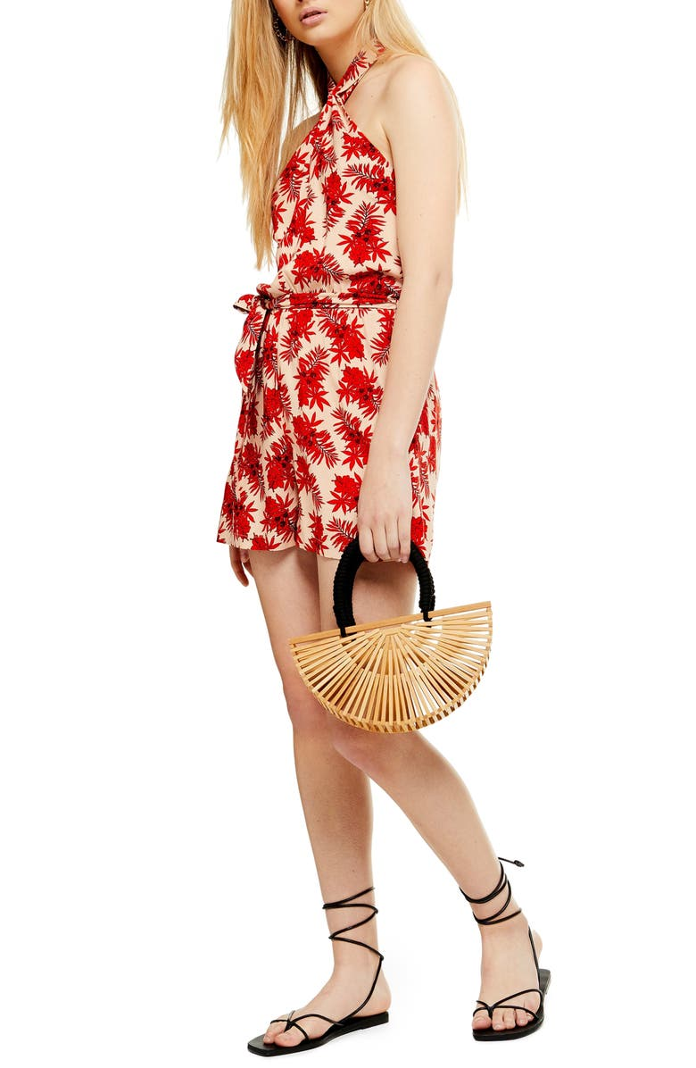 TOPSHOP Palm Print Halter Minidress, Main, color, RED MULTI