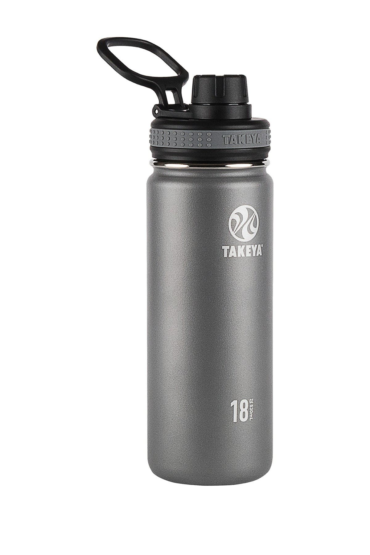 Image of Takeya Graphite Originals Insulated Spout Lid 18oz. Stainless Steel Bottle