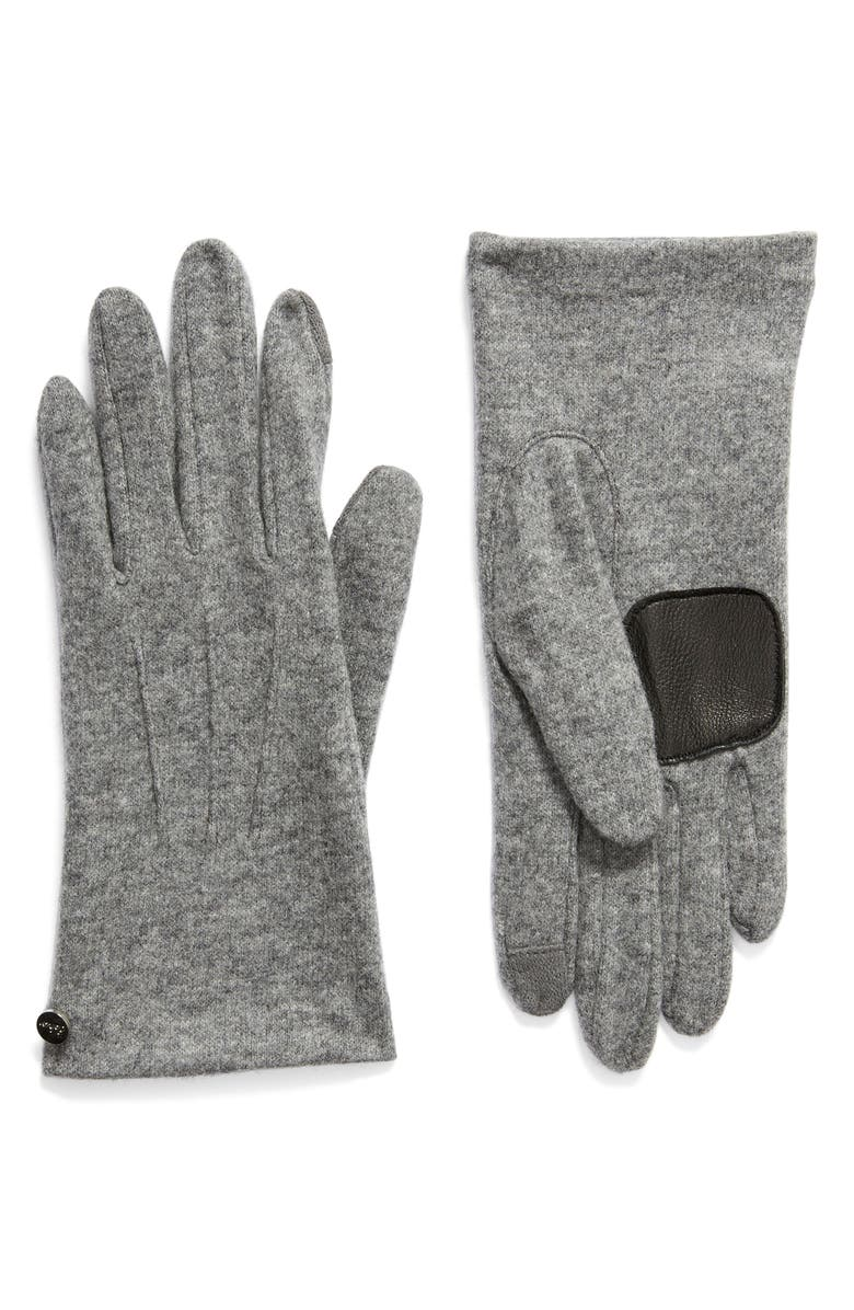 ECHO Wool & Cashmere Blend Water Repellent Touchscreen Gloves, Main, color, HEATHER GREY