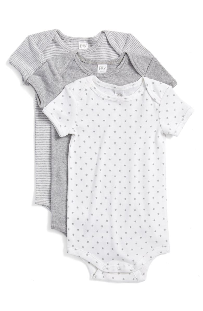 NORDSTROM BABY Cotton Bodysuits, Main, color, GREY ASH HEATHER PACK