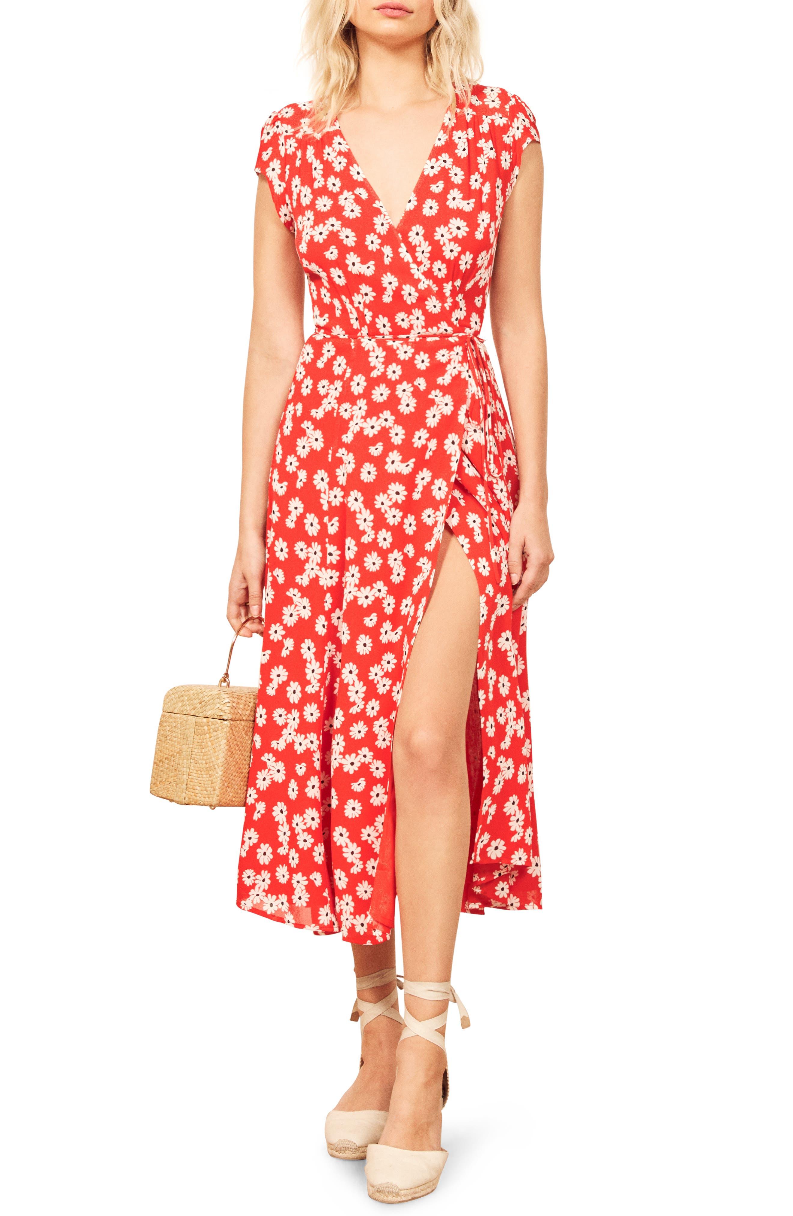 Reformation Carina Midi Wrap Dress, Red