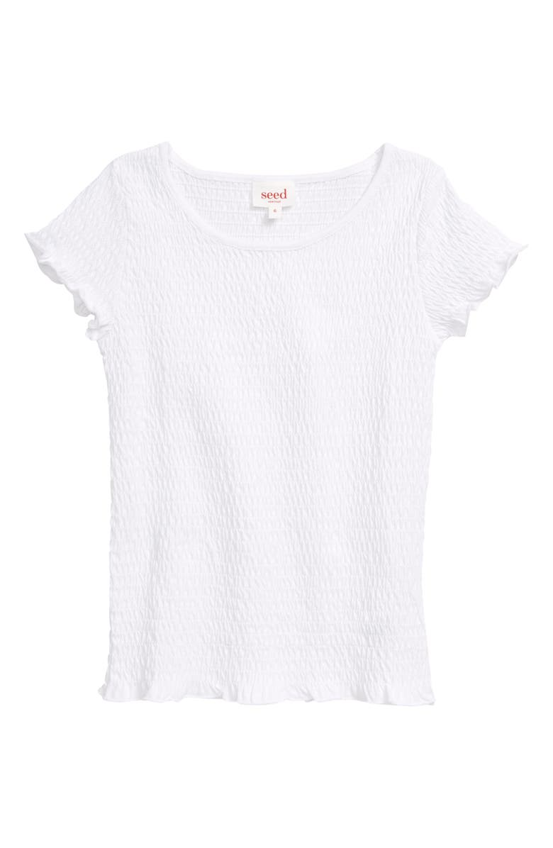 SEED HERITAGE Smocked Tee, Main, color, WHITE