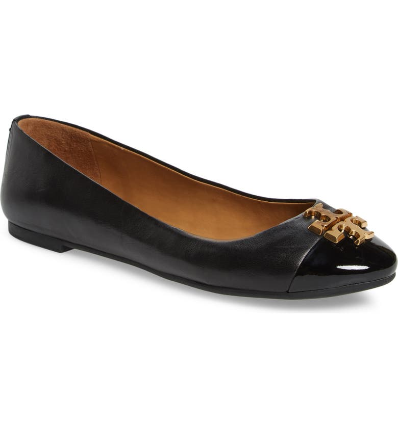 Everly Cap Toe Ballet Flat, Main, color, PERFECT BLACK/ PERFECT BLACK