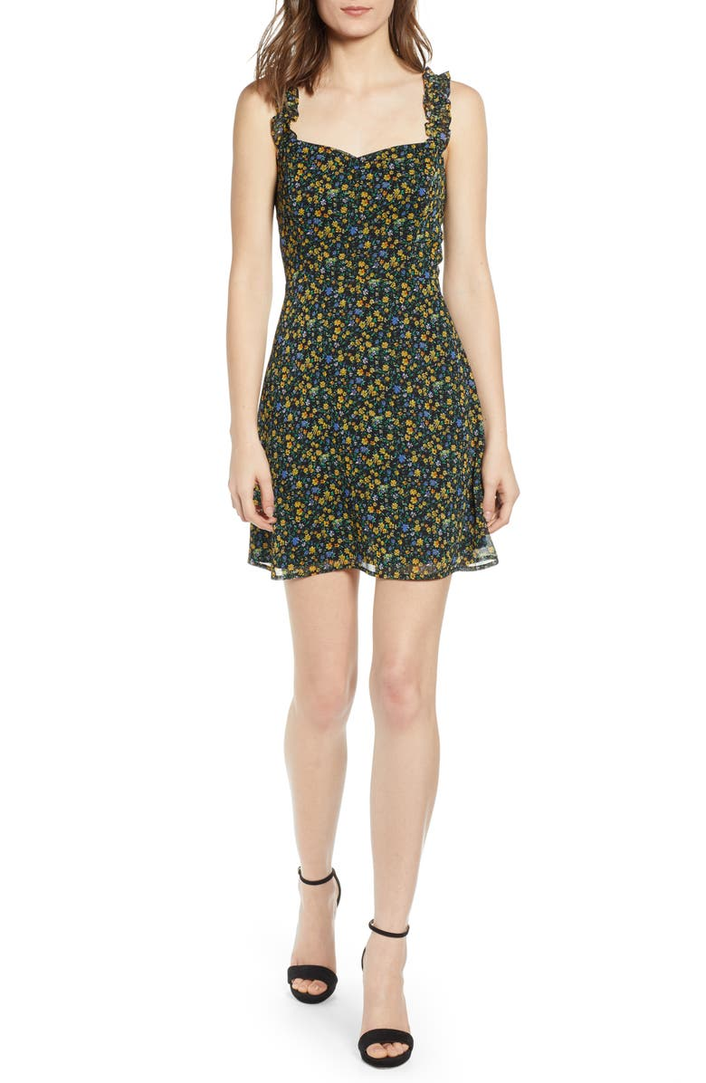 ALL IN FAVOR Stella Ruffle Strap Minidress, Main, color, MULTI DITSY