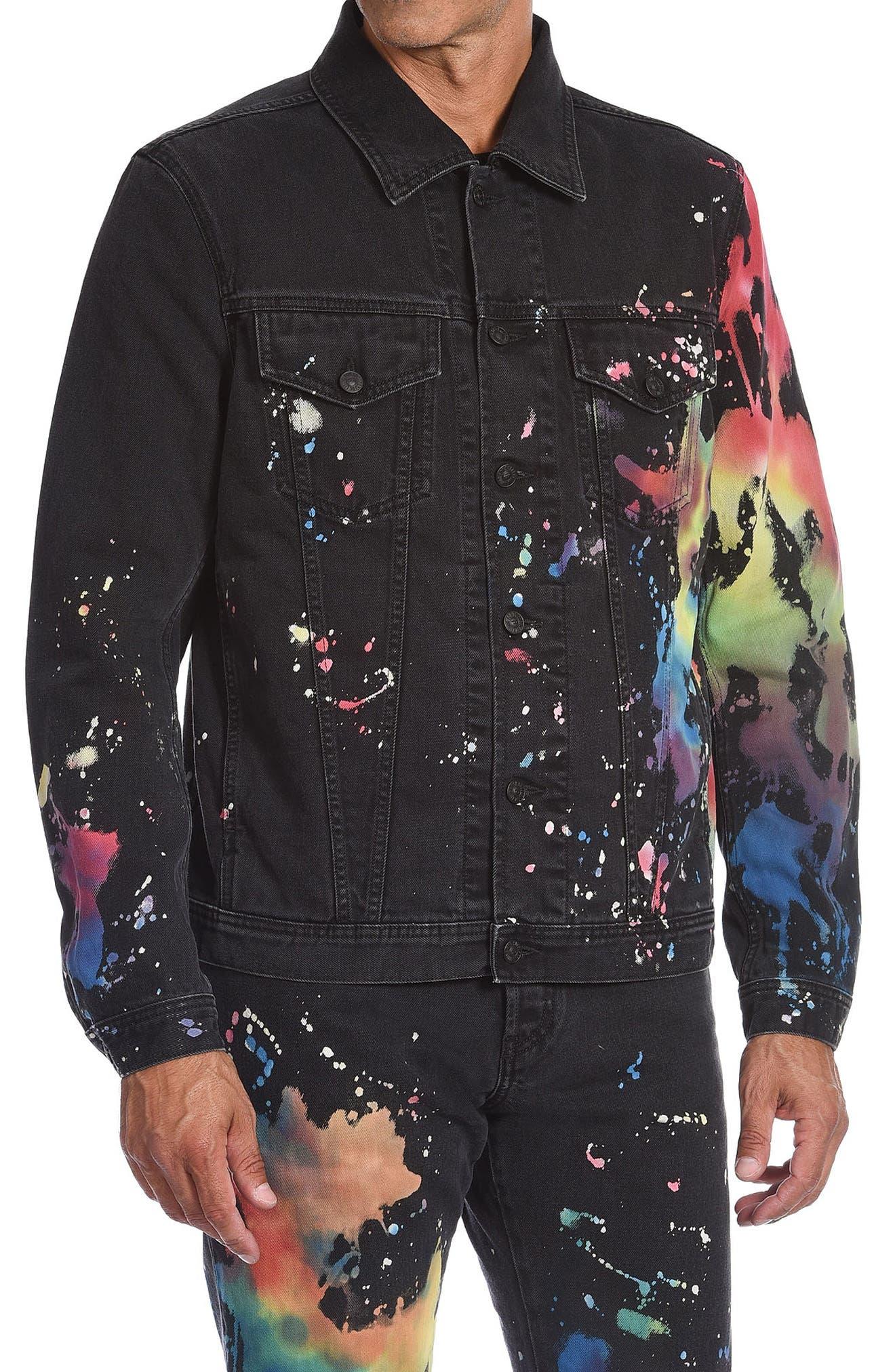 Men's Diesel Nhill-C-Sp Denim Splatter Jacket
