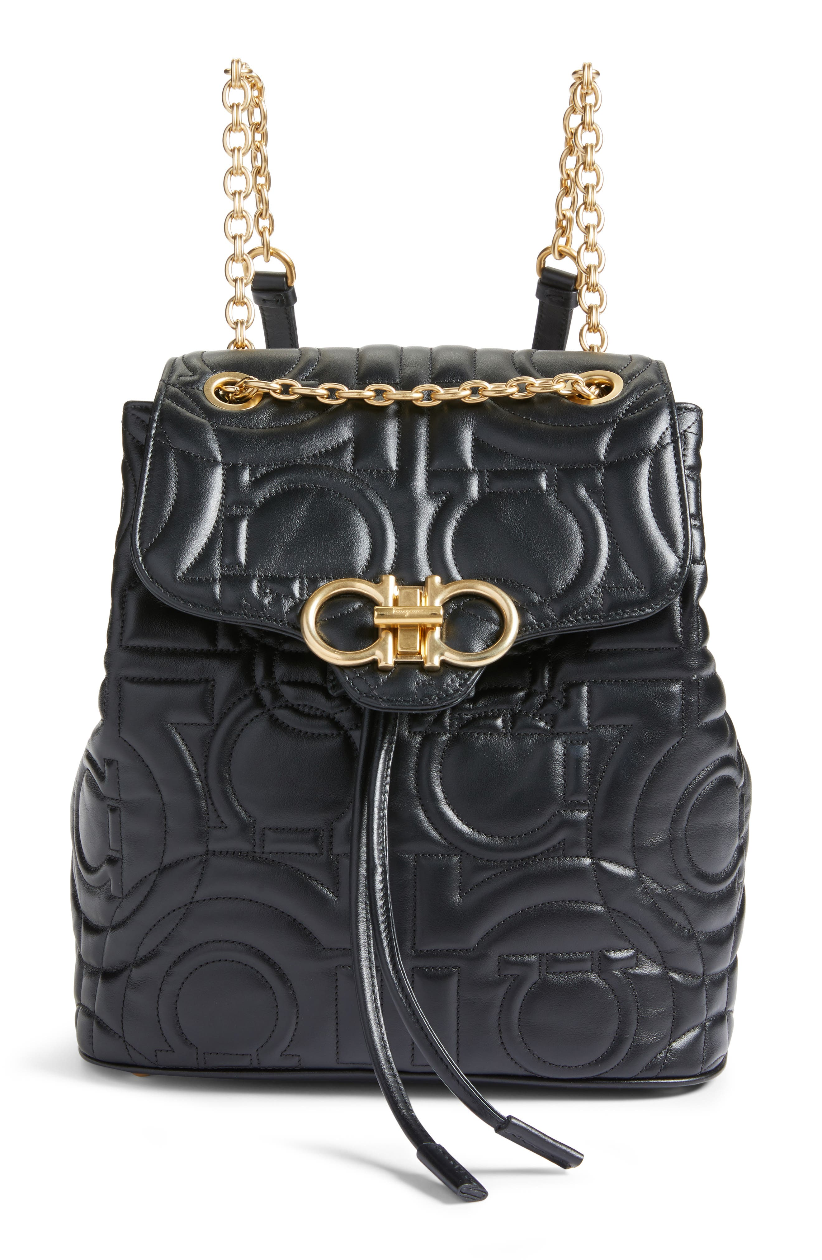Quilted Gancio Leather Backpack, Main, color, NERO