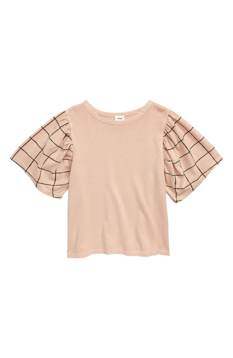 STEM Poppy Graphic Tee, Main, color, PINK SMOKE PAINTED GRID