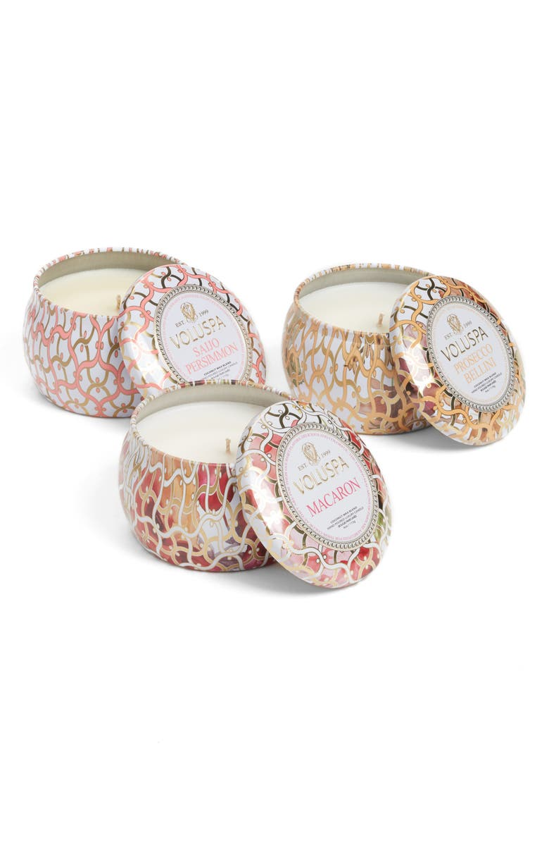 VOLUSPA Maison Blanc Mini Tin Candle Set, Main, color, NO COLOR