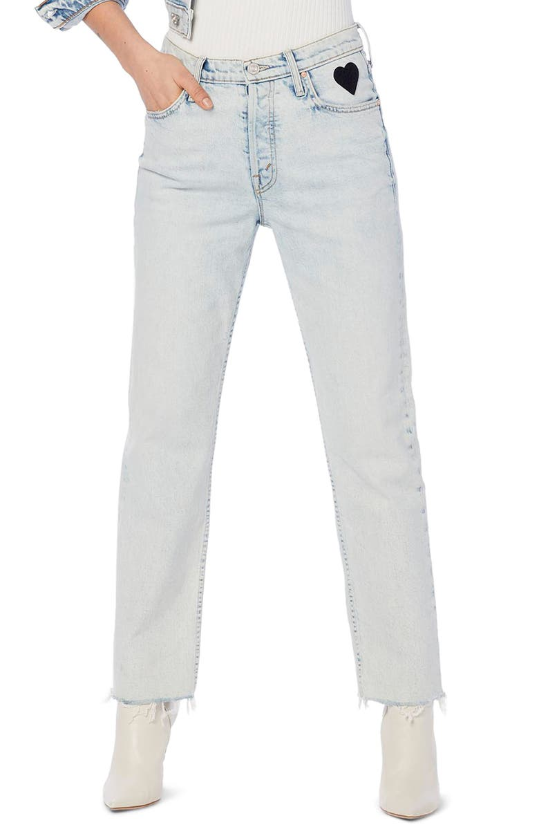 MOTHER The Tomcat High Waist Fray Ankle Straight Leg Jeans, Main, color, SAVED BY THE BELL