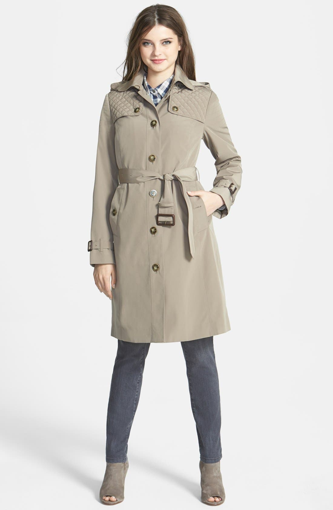 ,                             Quilt Flap Trench Coat with Detachable Liner,                             Main thumbnail 4, color,                             284