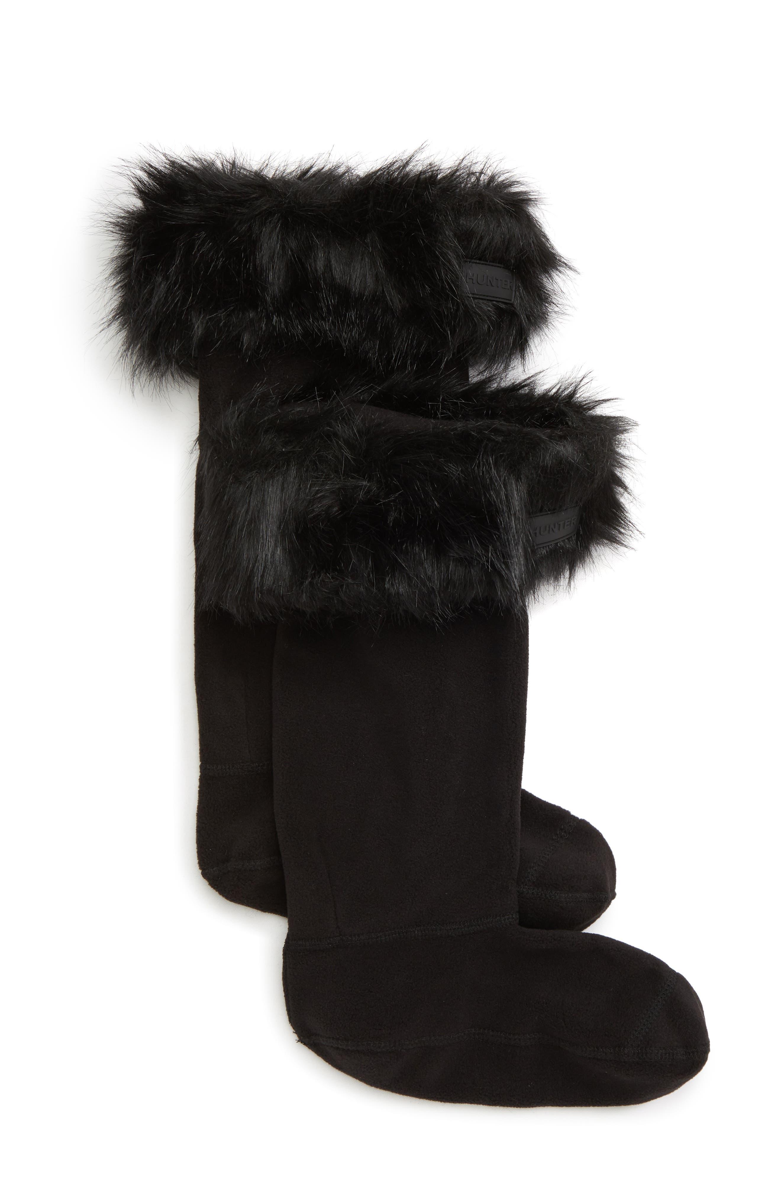 Image of Hunter Faux Fur Cuff Boot Sock - Tall