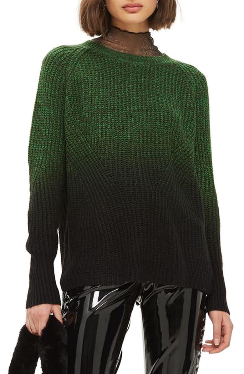 TOPSHOP Twist Dip Dye Sweater, Main, color, 301