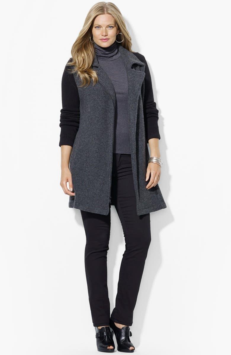 LAUREN RALPH LAUREN Stretch Wool Blend Coat, Main, color, 075