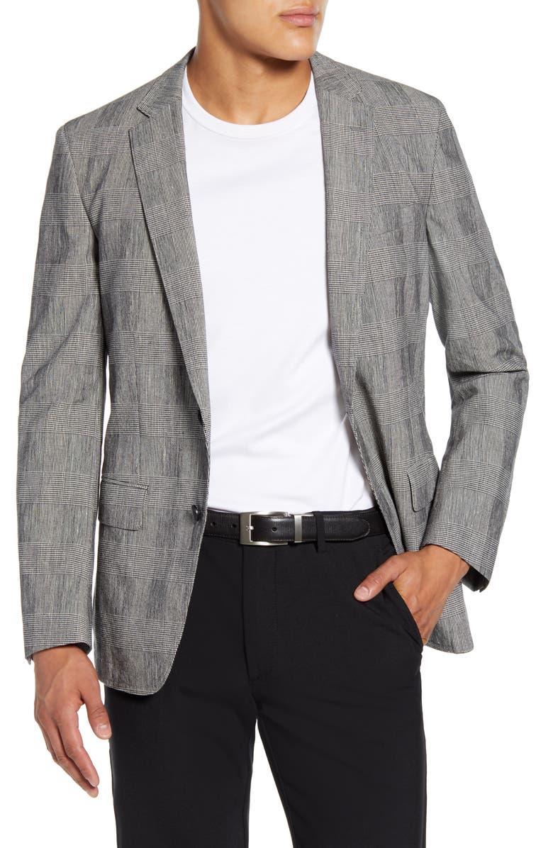 BOSS Halwon Trim Fit Plaid Stretch Cotton Blend Sport Coat, Main, color, BLACK