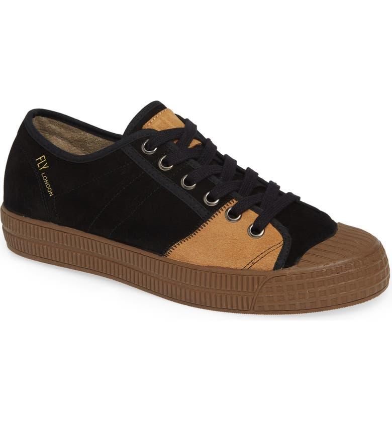 FLY LONDON Foto Sneaker, Main, color, BLACK/ CAMEL SUEDE