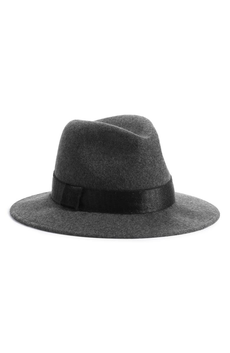 SOMETHING NAVY Shine Trim Wool Fedora Hat, Main, color, 020
