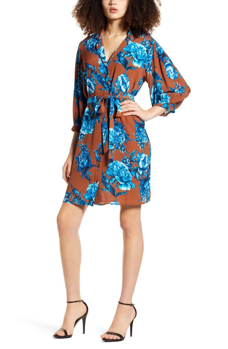 VERO MODA Lucia Floral Shirtdress, Main, color, TOBACCO BROWN