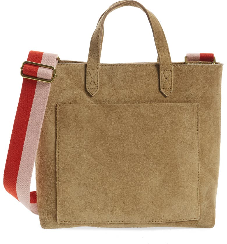 MADEWELL Zip Top Suede Crossbody Transport Tote, Main, color, 300