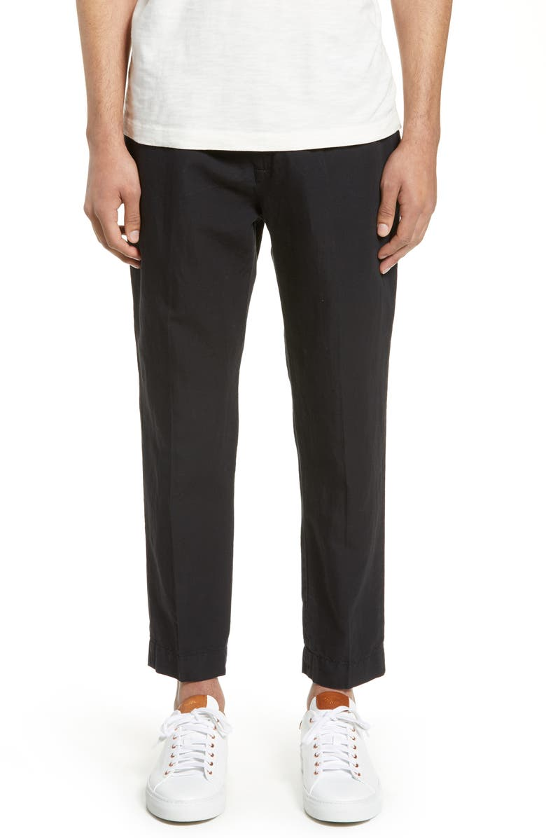 FRENCH CONNECTION Slim Fit Cropped Pants, Main, color, BLACK