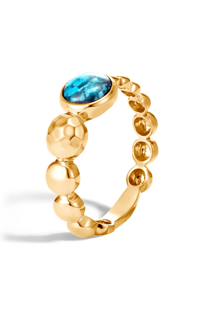JOHN HARDY Dot Hammered 18K Gold & Turquoise Ring, Main, color, GOLD