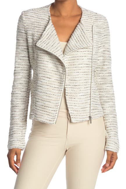 Image of Bagatelle Wing Collar Tweed Moto Jacket