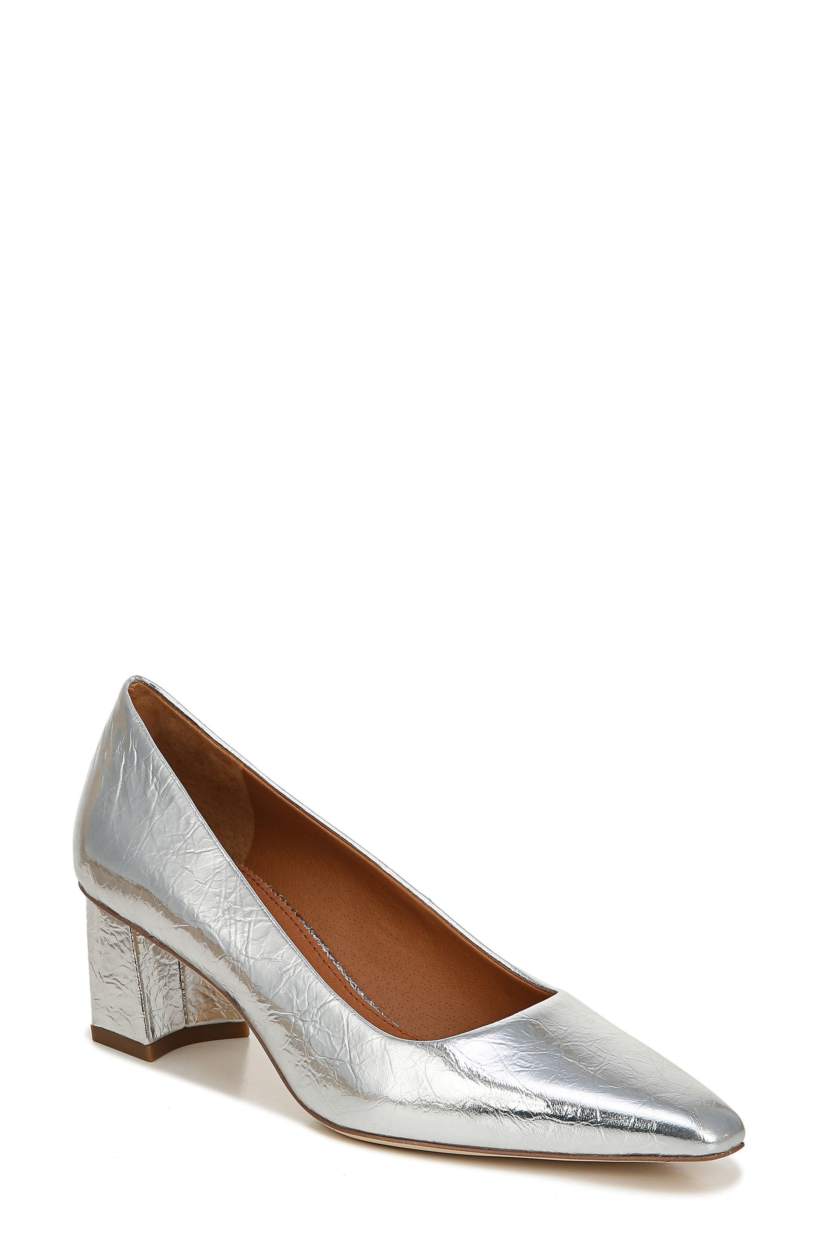 Sarto By Franco Sarto Regal Leather Pump In Silver Leather