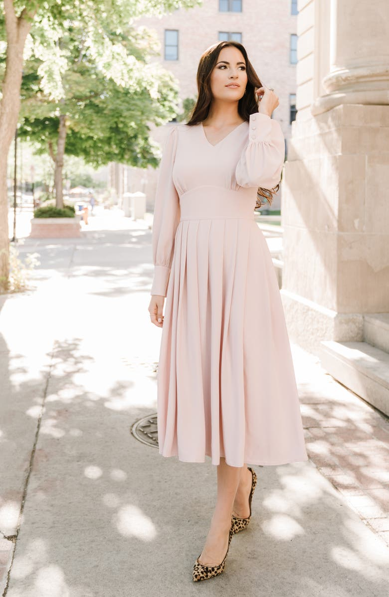 RACHEL PARCELL Long Sleeve Satin Midi Dress, Main, color, PINK SMOKE